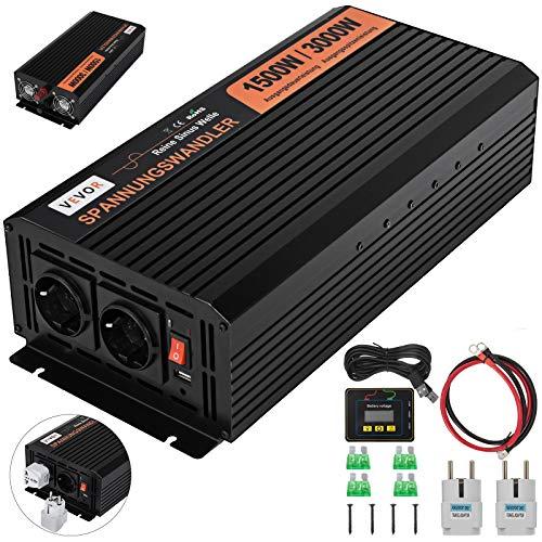 OldFe Solar Wechselrichter 1500W DC, Spannungswandler Wechselrichter 24V, Sinus wechselrichter