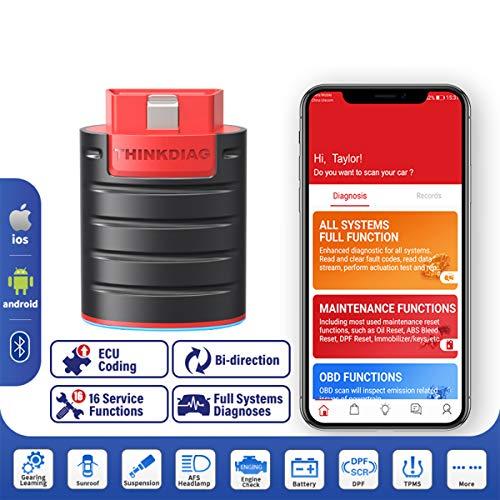 ThinkDiag Bluetooth Diagnosi Tutte Le Sistemi Codifica ECU e Test Attivi e 16 Funzioni di Servizio di Ripristino App per Dispositivi Android e iOS [ Nuovo EasyDiag 2021 ]