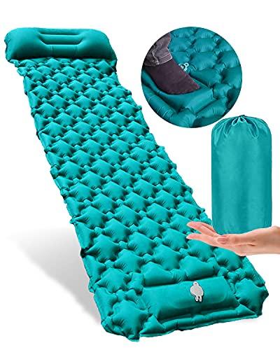 Colchoneta autoinflable, portátil, ultraligera, para acampar, colchón, inflable y conectable impermeable, con almohada, alfombrilla de camping para acampar al aire libre, mochila azul