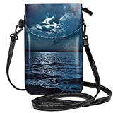 Women Small Cell Phone Purse Crossbody,Majestic Dramatic Sky Clouds And Full Moon Over Seascape Calm Tranquil Ocean