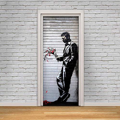 Deur Sticker Behang 3D Deur muurschildering Wachten in Straat Art Graffiti Deur Sticker Muurschildering Deco Wandmuurschildering Fotobehang Zelfklevende 77Cmx200Cm