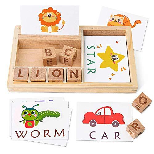 Rechtschreibung Spiele, Holz Matching Letters Spielzeug mit Worten Flash Cards, Alphabete ABC Learning Educational Montessori Puzzle Geschenk for Vorschulkinder Junge Mädchen Alter 3 4 5 Jahre alt zca