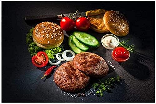 DYYjh Dibujo de diamante 5D DIY vegetales cuchillo de carne y tenedor de la cocina lienzo de la pintura del cartel y de la impresión arte de la pared de la comida imagen de la sala de estar 40x50