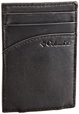 Columbia Leather Wallets for Men - Smart Slim Thin Minimalist Travel Front Pocket Card Money Holder for Travel,Black,One sizee