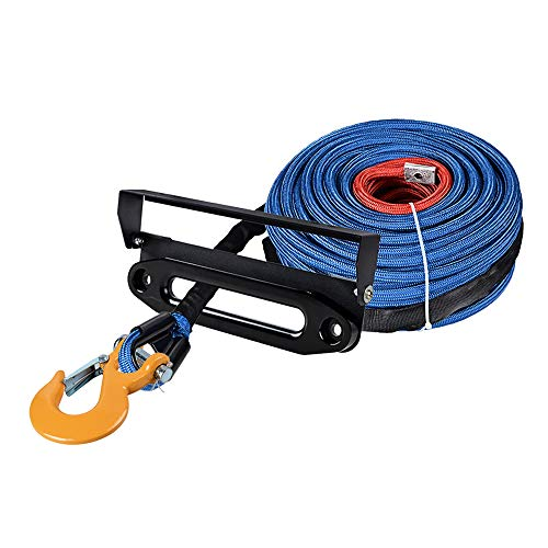 Buy Bargain Astra Depot 95ft x 3/8 Blue UHMWPE Winch Rope 22,000lbs w/All Rock Guard + Yellow Clevi...