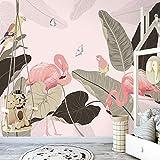 WXNWY Papel Pintado Mural De La Sala 3D Autoadhesivo 140X70Cm Papel Tapiz Fotográfico Niño Murals 3D Decoración De Pared Póster Papel Pintado Dormitorio Loro Hoja De Plátano Flamenco Mariposa