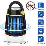 Dkinghome Lampe Anti Moustique UV Lanterne de Camping LED 3 en 1 Insecte Contrôle Répulsif Piège Portable Électrique Étanche USB Rechargeable pour Intérieur et Extérieur (Noir)