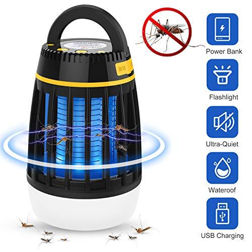 Dkinghome Zanzariera Elettrica, Mosquito Killer Lampada UV da Campeggio Lanterna LED 3 in 1 Trappola Repellente per Il Controllo degli Insetti Portatile Elettrico Impermeabile USB Ricaricabile(Nero)