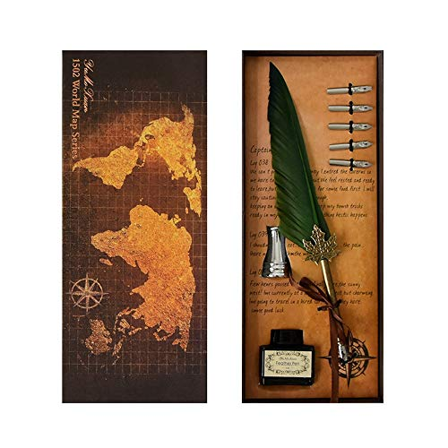 Xiejuanjuan Feather Calligraphy Pens Retro Feather for Business Best Quill Dip Pen Writing Ink Kit Friend Gift Box Green 5pcs Pen Head for Students Officer, Write Smoothly, Executive Gi