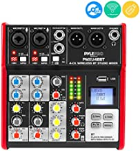Studio Audio Sound Mixer Board - 4 Channel Bluetooth Compatible Professional Portable Digital Dj Mixing Console w/ USB Mixer Audio Interface - Mixing Boards For Studio Recording - PylePro PMXU48BT