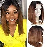 Peluca de pelo humano de Zanawigs 7A, brasileño virgen, parte frontal de encaje, diseño de corte Bob corto, para mujeres negras, pelo liso, 130% de densidad, color oscuro