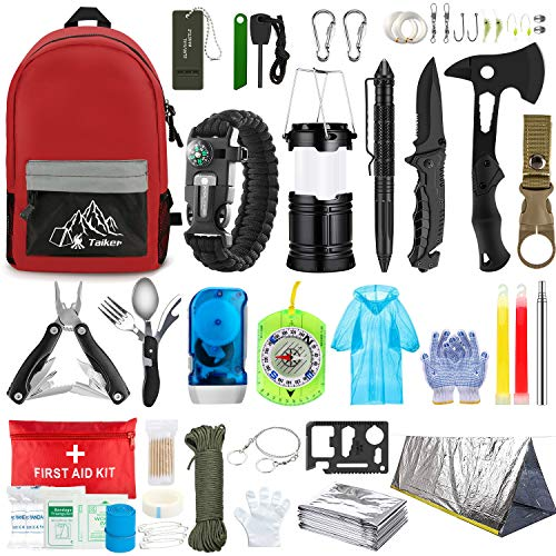 Emergency Survival Kit, 101 Pcs Survival Gear First Aid Kit, Outdoor Trauma Bag with Tactical...