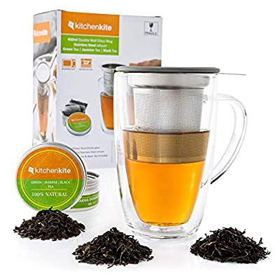 Glass Tea Cup with Infuser and Lid Gift Set - 16oz Borosilicate Double Wall Brewing Tea Cup for Loose Leaf Tea with Removable Stainless Steel Infuser - Tea sampler Included - Lid Doubles a Coaster