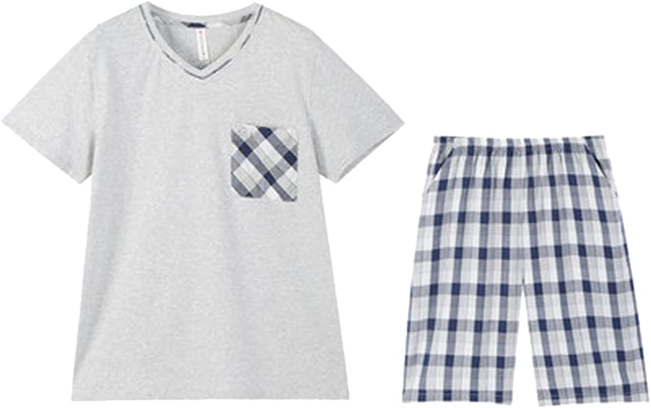 ft FENTENG Men Pajamas Short-Sleeved Sleepwear Set Shorts Shirt and Pants Cotton Casual for Home 2 Piece Suit