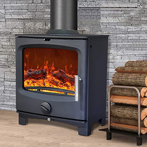 NRG Defra 5KW Contemporary Wood Burning Multifuel Woodburning Stove Eco Design High Efficiency...