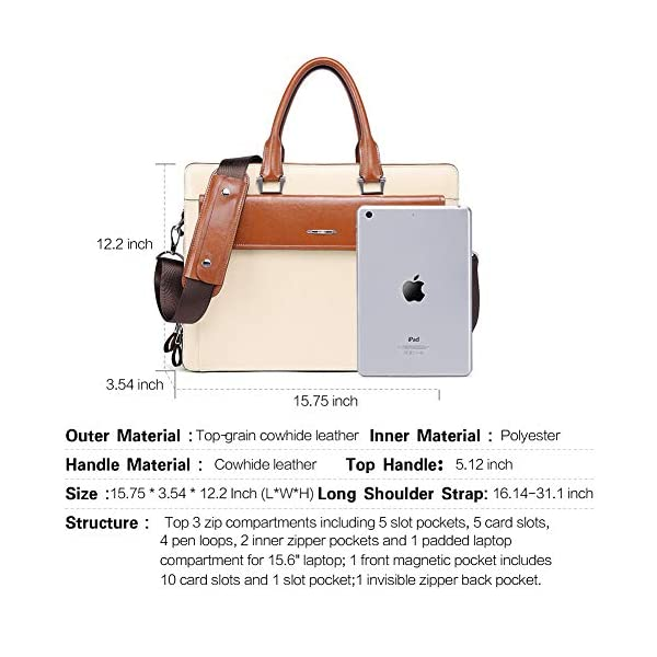 "CLUCI Women Oil Wax Leather Briefcases Slim Large Business 15.6"" Laptop Vintage Shoulder Bag for Men 3"