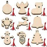 Adornos navideños de madera,36 piezas Adornos navideños de madera Adornos colgantes Artesanías de madera Árbol de Navidad Muñeco de nieve 9 Patrones con 36 piezas de cordel rojo para colgar en Navidad