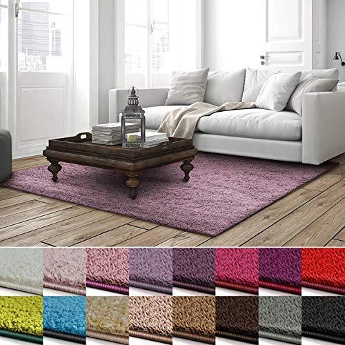 casa pura Shaggy Teppich Barcelona | weicher Hochflor Teppich für Wohnzimmer, Schlafzimmer, Kinderzimmer | GUT-Siegel + Blauer Engel | Verschiedene Farben & Größen | 100x150 cm | Lavendel