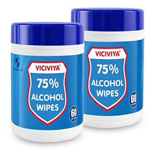 Tragbare Feuchttücher, Viciviya 120 Stück tragbare Einweg-Vliesstoff-Reinigungstücher für Zuhause, Büro, Außenreinigung, Pflege, 2 Packungen