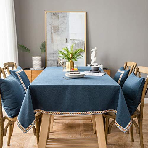 Pahajim Mantel de lino de algodón vintage Mantel rectangular a prueba de polvo Mantel bordado con borlas para la cocina (azul, cuadrado, 53'x53'(4 asientos))
