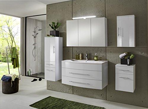 SAM® Badmöbel-Set Basel 5 teilig, hochglanz weiß, 100 cm, Mineralgussbecken weiß, Softclose-Funktion, 1 x Spiegelschrank, 1 x Waschplatz, 1 x Hochschrank, 1 x Hängeschrank, 1 x Unterschrank