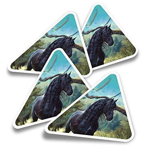 Pegatinas triangulares de vinilo (juego de 4) – Friesian Stallion Black Horse Equine Fun Calcomanías para ordenadores portátiles, tabletas, equipajes, reservas de chatarra, neveras #16227