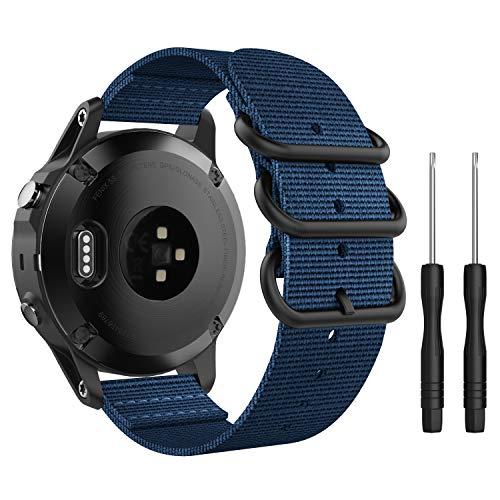 MoKo Armband Kompatibel mit Garmin Fenix 5S/Fenix 5S Plus/D2 Delta S, NATO Nylon Uhrenarmband Ersatzarmband Handgelenk Band Strap (Kein Quick Fit) - Königsblau