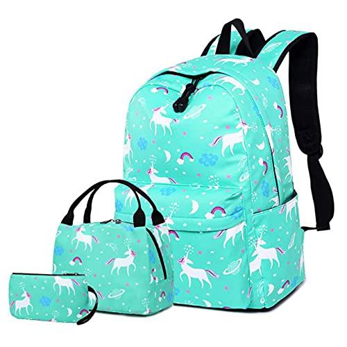 Yuan Ou Mochila infantil mochila unicornio mochila de nailon estampada mochila escolar Lake blue