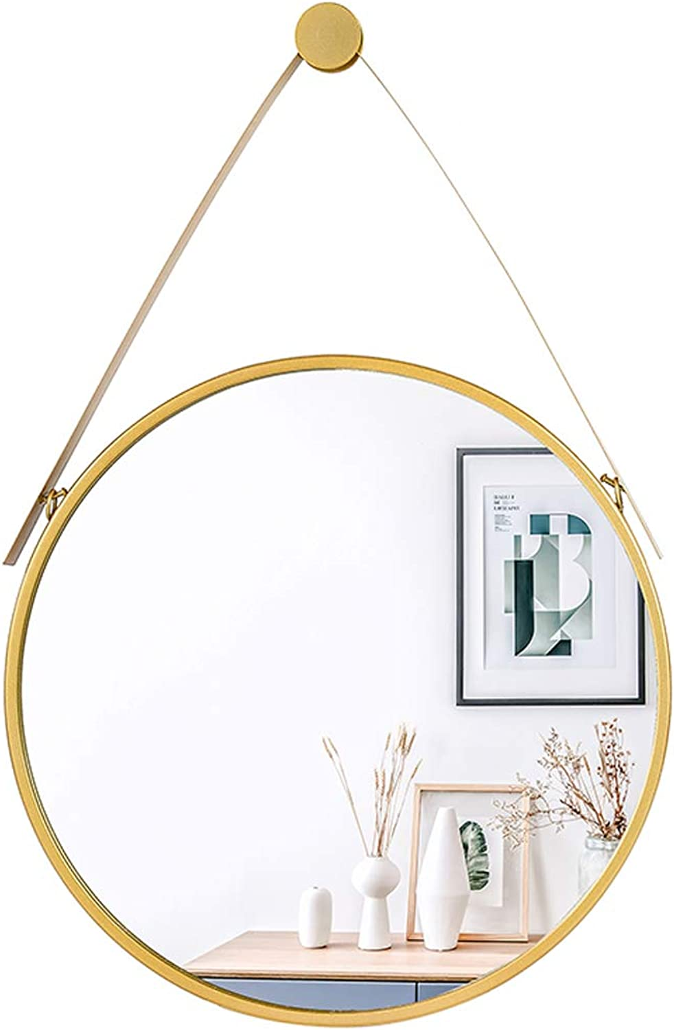 Metal Frame Wall Mirror Bathroom Shaving Mirror, Hanging Decorative Mirror with Hanging Chain (golden)