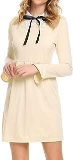 Zeagoo Women Bow Tie Doll Collar Long Ruffle Sleeve Shift Dress for Office Work