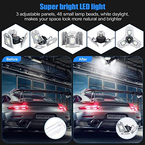 Garage Lights Tanbaby Garage Light Deformable LED Garage Lights 6000lm 60W Tribright LED Adjustable Light Garage Lighting Garage Light Bulb Shop Light for Garage, Working Light Xmas(NO Sensor)