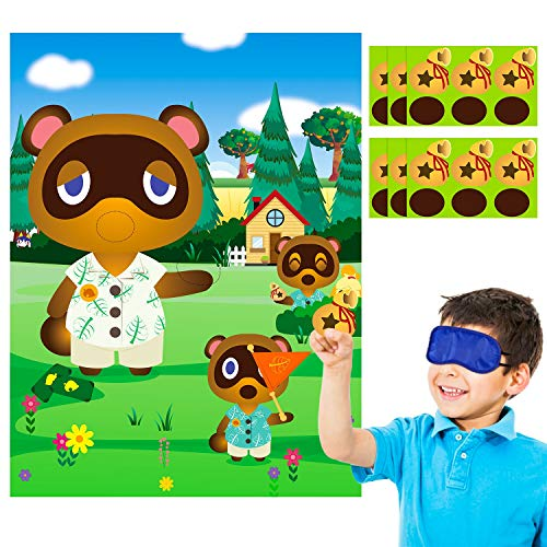 Animal Stickers Game Themed Pin The Tail Party Supplies Pin The Mouth on The Poster Birthday Collection Favor Baby Shower Game Background Accessories for Kids ( Includes 2 Blindfolds )