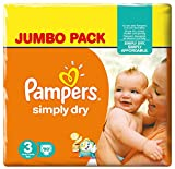 Pampers - Simply Dry - Pañales - Talla 3 (4 - 9 kg) - 2 x 90 pañales
