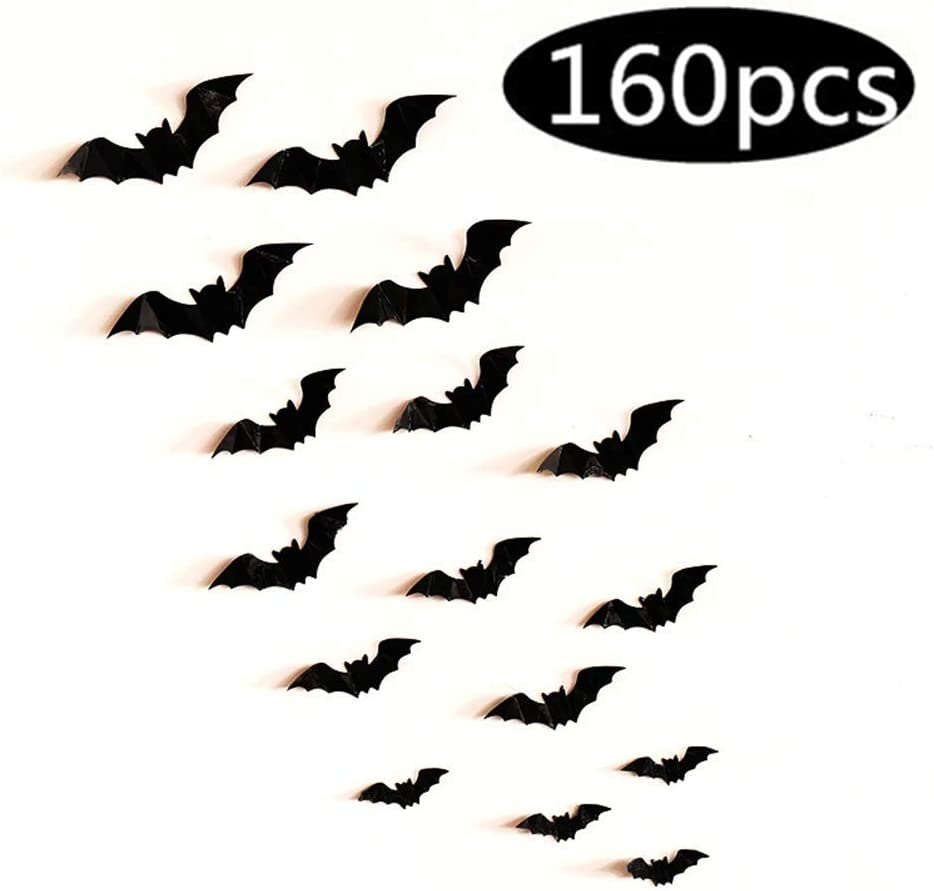 Fashionwu 3D Bats Stickers, Halloween Party Supplies Waterproof Scary Bats Wall Decals DIY Home Window Decor, Removable Bats Stickers for Indoor Outdoor Halloween Wall Decorations - 80pcs: Kitchen & Dining