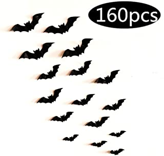 Fashionwu 3D Bats Stickers, Halloween Party Supplies Waterproof Scary Bats Wall Decals DIY Home Window Decor, Removable Bats Stickers for Indoor Outdoor Halloween Wall Decorations - 160pcs