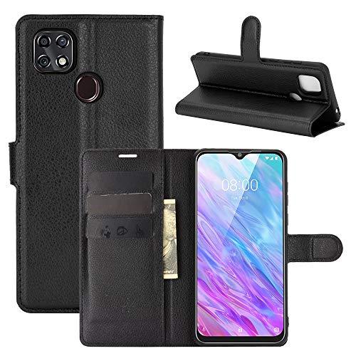 Fertuo Hülle für ZTE Blade 10 Smart, Handyhülle Leder Flip Case Tasche mit Standfunktion, Kartenfach, Magnetschnalle, Silikon Bumper Schutzhülle Cover für ZTE Blade 10 Smart 2020, Schwarz
