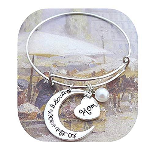 GYKMDFx Regalos para madres, regalos para mamá, I Love You to The Moon and Back Brazalete, pulsera, corazón, perla