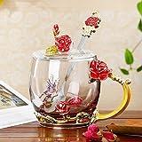 Taza de té, flor Taza de té, de cristal sin plomo de café, café con esmalte delicado cuadro de cuchara y el regalo, el regalo perfecto for la esposa, Día de San Valentín