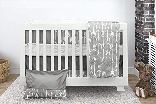 BOOBEYEH & DESIGN Baby Crib Bedding Set, 7 Pieces, Boys and Girls, Including: Fitted Sheet+ Crib Comforter+ Comforter Cover+ Skirt+ Bumper+ Pillow Cover+ Pillow, Gray Arrow Design