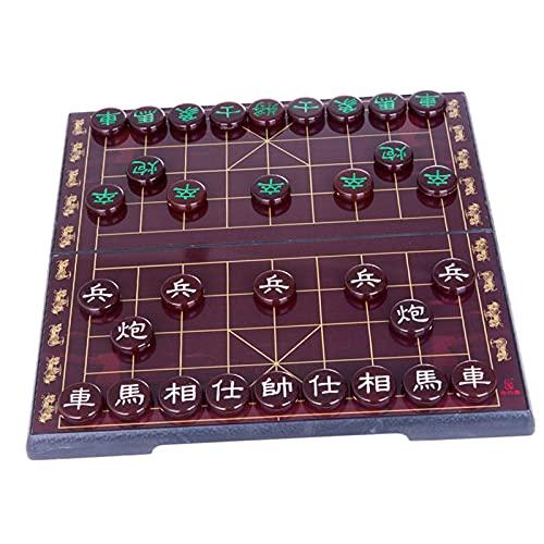 freneci Juego de ajedrez Chino Juegos de Mesa magnéticos Pensamiento estratégico con Tablero Plegable Xiangqi Compacto para Actividades Familiares de Mesa