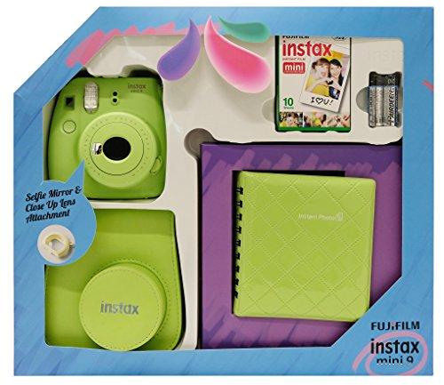 Fujifilm Instax Mini 9 - Kit (Cámara Instax Mini 9 + álbum + funda + paquete de 10 fotografías + lente + pilas), color verde