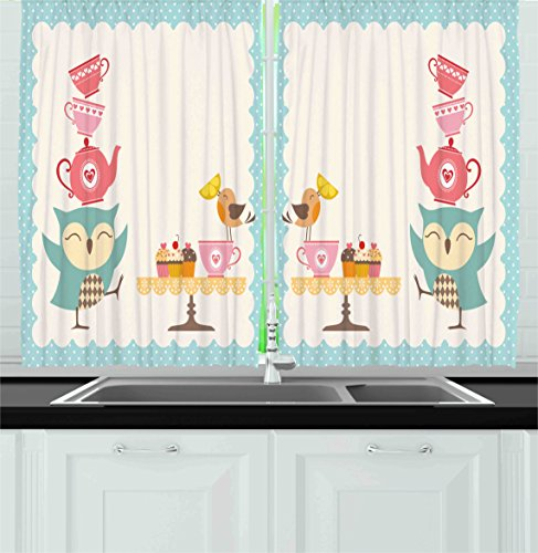 "Ambesonne Owl Kitchen Curtains, Owl at a Tea Party Bird Lemon Cupcakes Teacups Vintage Design Border Art Print, Window Drapes 2 Panel Set for Kitchen Cafe Decor, 55"" X 39"", White Pink"
