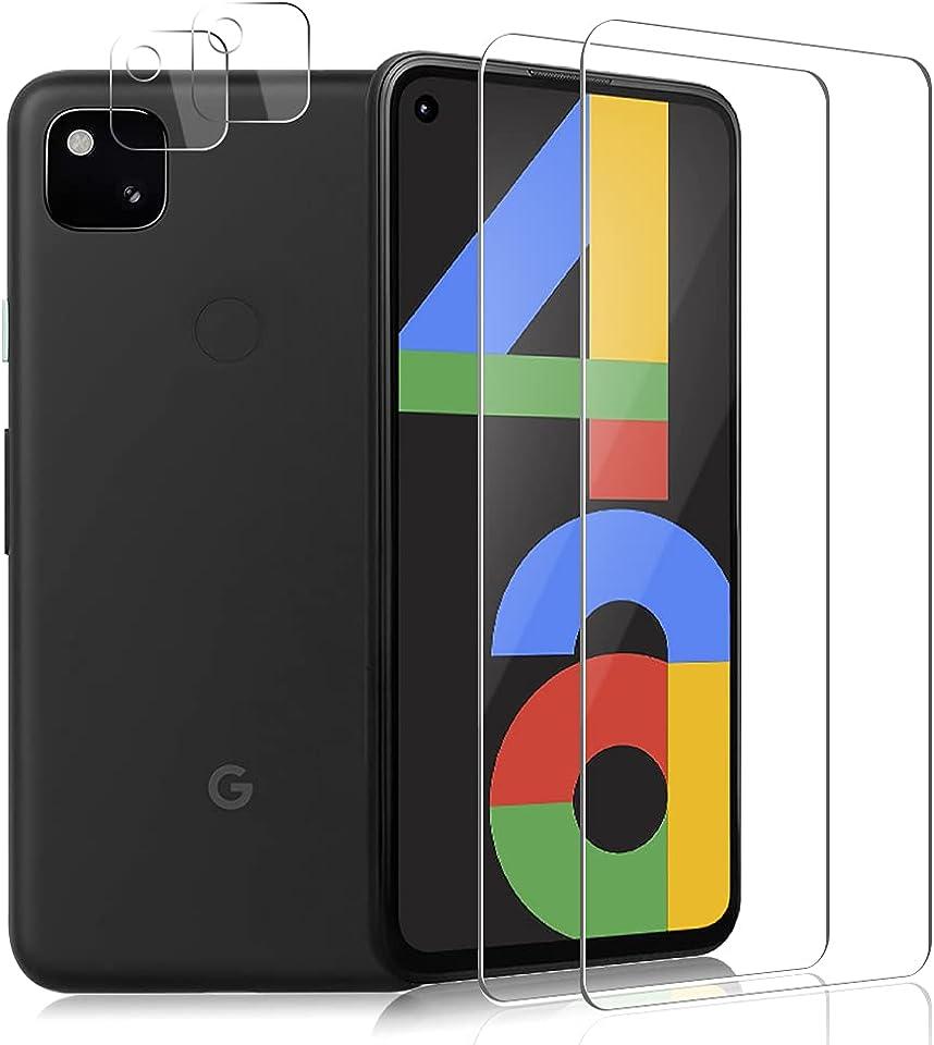 Carantee Panzerglas für Google Pixel 4A, Anti-Kratzen, Blasenfrei, Ultra-HD, 9H Härte Displayschutz, 2 Schutzfolie + 2 Kamera Panzerglasfolie