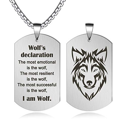 FLYUN Fashion Wolf Pendant Stainless Steel Dog Tags Cool Amulet Necklace for Men Engraved Wolf's Declaration Personalized Jewelry (Silver)