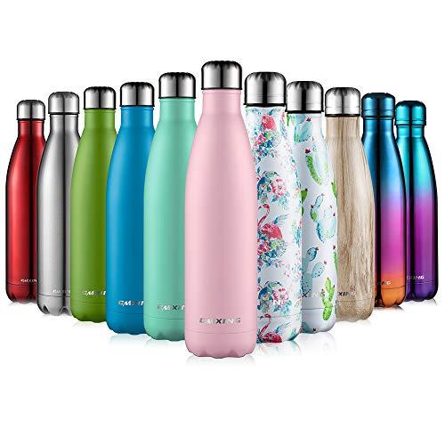 cmxing Doppelwandige Thermosflasche 500 mL / 750 mL mit Tasche BPA-Frei Edelstahl Trinkflasche Vakuum Isolierflasche (ROSA, 750 mL)