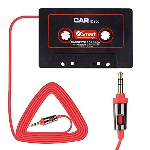 Eleshroom Universal Car Audio Travel Cassette Adapter, 3.5mm AUX Audio Music Cassette Tape Player Adapter MP3 Player Converter Compatible with Android Phones, iPad, MP3 Players (Black Red)