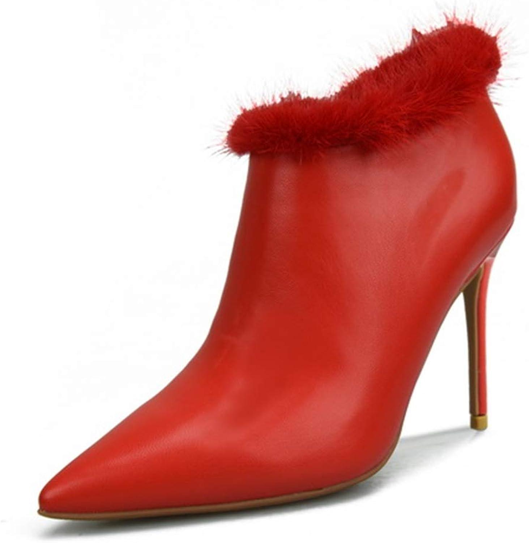 Fenghz-schuhe Schuhe Mode Damen Stiefel Stiletto 8cm High Heels Heels mit Pelzkragen, Spitze Zehenpartie aus Kunstleder (Farbe   Rot, Größe   34 EU)  Online-Verkauf