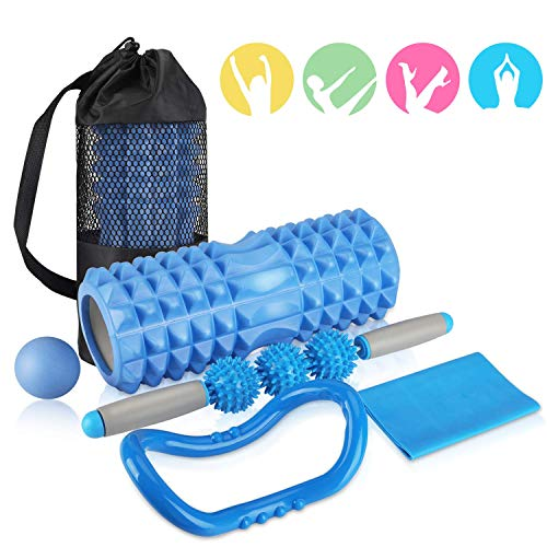 AGPTEK fit Faszien Set :Muskelroller, Duoball, Faszienrolle & Lacrosse Ball zum Faszien Training der Muskeln und Schmerztherapie