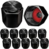 Aluminum Tire Valve Stem Caps, Metal with Rubber Ring, Dust Proof Cover Universal fit for Cars, SUVs, Bike and Bicycle, Trucks, Motorcycles Metal (12 Pack Black E Valve Caps)