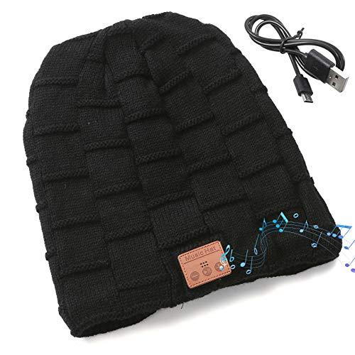 EasyULT Bluetooth Mütze, Bluetooth 5.0 Musik Strickmütze Wintermütze Warme Beanie Hut Winter Mützen für Winter Outdoor-Sport, Skifahren, Laufen, Geschenke Mützen für Damen und Herren(Schwarz)